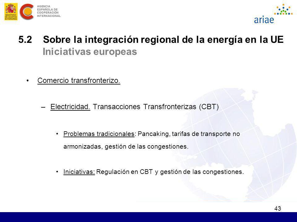 43 5.2 Sobre la integración regional de la energía en la UE Iniciativas europeas Comercio transfronterizo. –Electricidad. Transacciones Transfronteriz