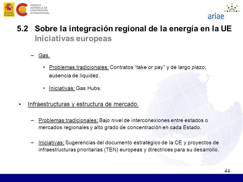 44 5.2 Sobre la integración regional de la energía en la UE Iniciativas europeas –Gas. Problemas tradicionales: C ontratos take or pay y de largo plaz