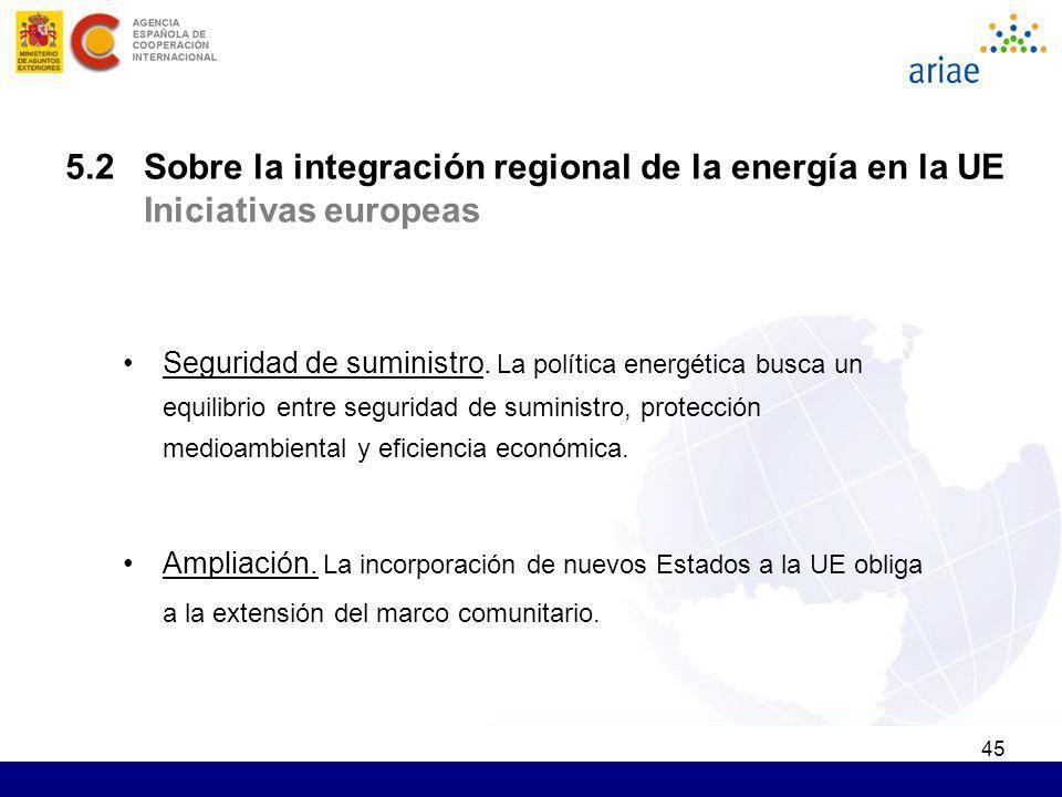 45 5.2 Sobre la integración regional de la energía en la UE Iniciativas europeas Seguridad de suministro. La política energética busca un equilibrio e