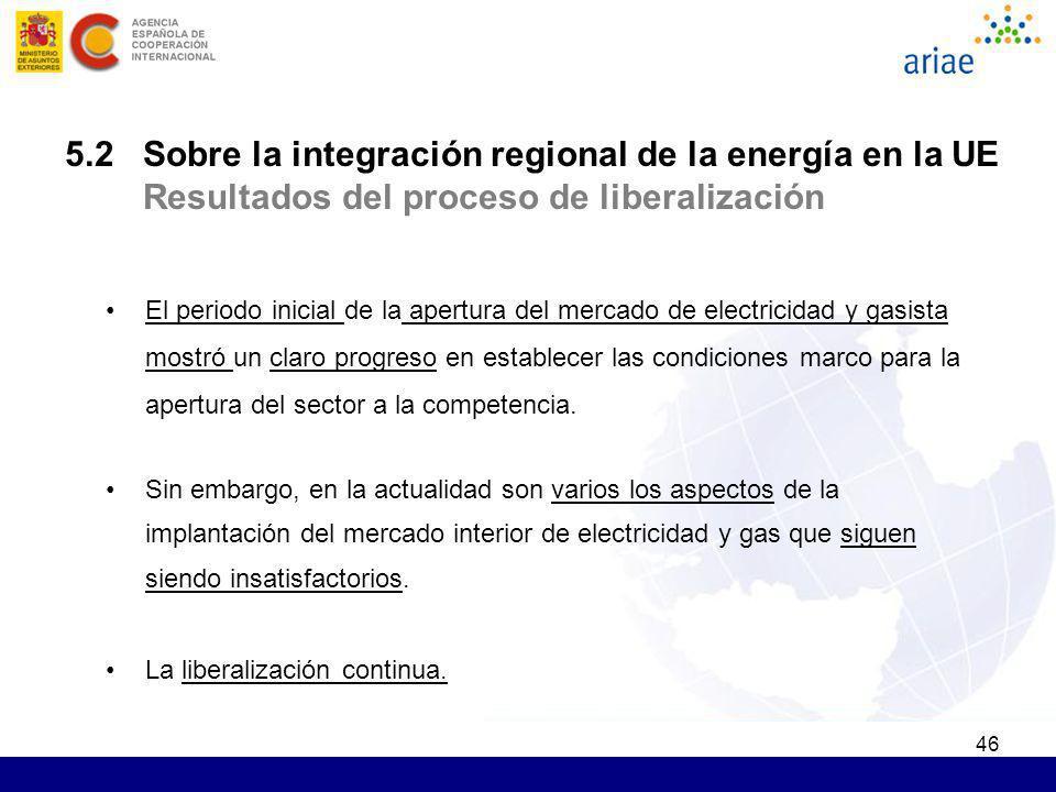 46 5.2 Sobre la integración regional de la energía en la UE Resultados del proceso de liberalización El periodo inicial de la apertura del mercado de
