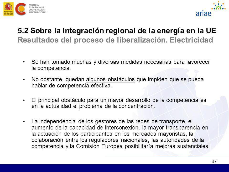 47 5.2 Sobre la integración regional de la energía en la UE Resultados del proceso de liberalización. Electricidad Se han tomado muchas y diversas med