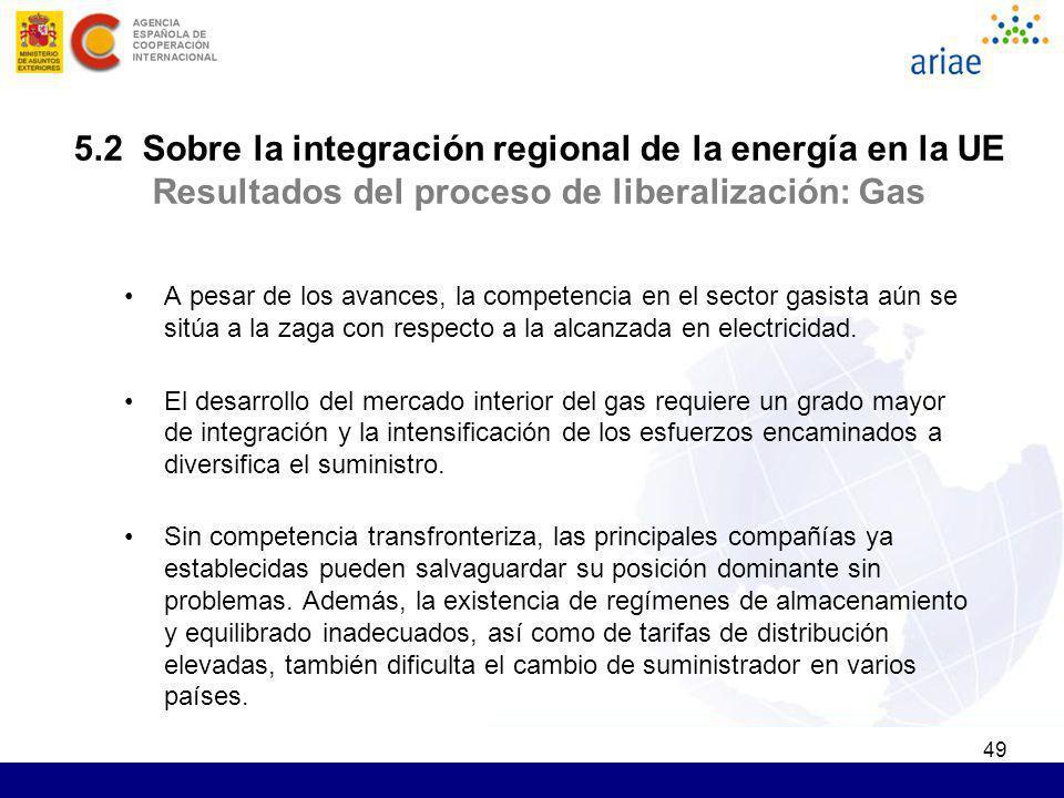 49 5.2 Sobre la integración regional de la energía en la UE Resultados del proceso de liberalización: Gas A pesar de los avances, la competencia en el