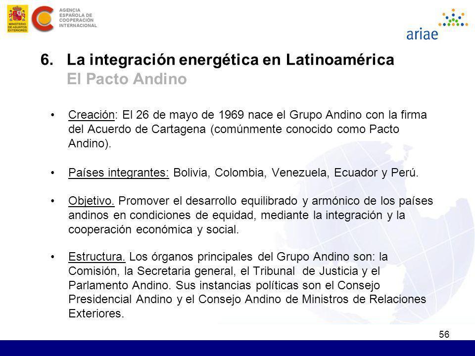56 Creación: El 26 de mayo de 1969 nace el Grupo Andino con la firma del Acuerdo de Cartagena (comúnmente conocido como Pacto Andino). Países integran