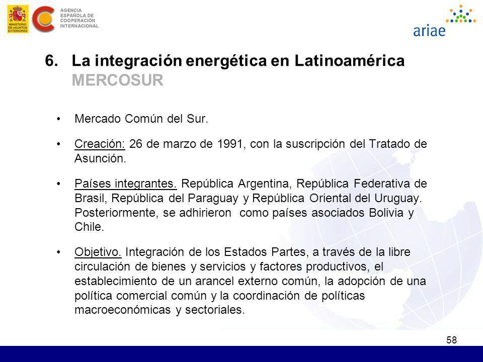 58 Mercado Común del Sur. Creación: 26 de marzo de 1991, con la suscripción del Tratado de Asunción. Países integrantes. República Argentina, Repúblic