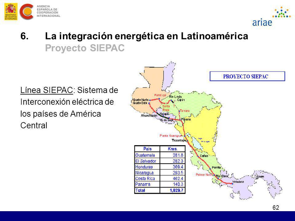62 Línea SIEPAC: Sistema de Interconexión eléctrica de los países de América Central 6. La integración energética en Latinoamérica Proyecto SIEPAC