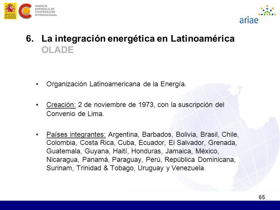65 Organización Latinoamericana de la Energía. Creación: 2 de noviembre de 1973, con la suscripción del Convenio de Lima. Países integrantes: Argentin