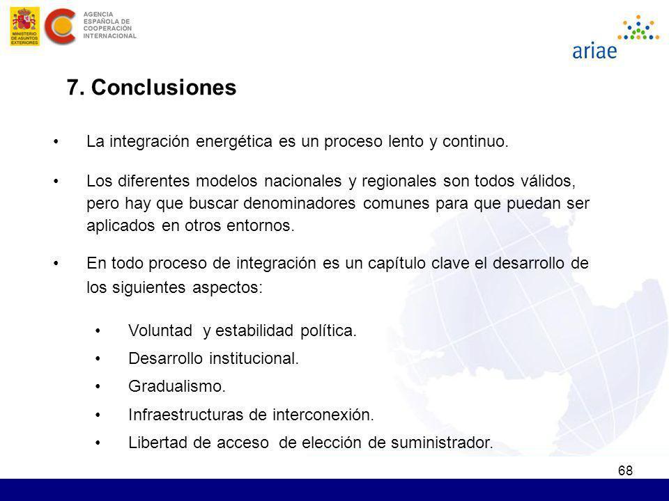 68 7. Conclusiones La integración energética es un proceso lento y continuo. Los diferentes modelos nacionales y regionales son todos válidos, pero ha