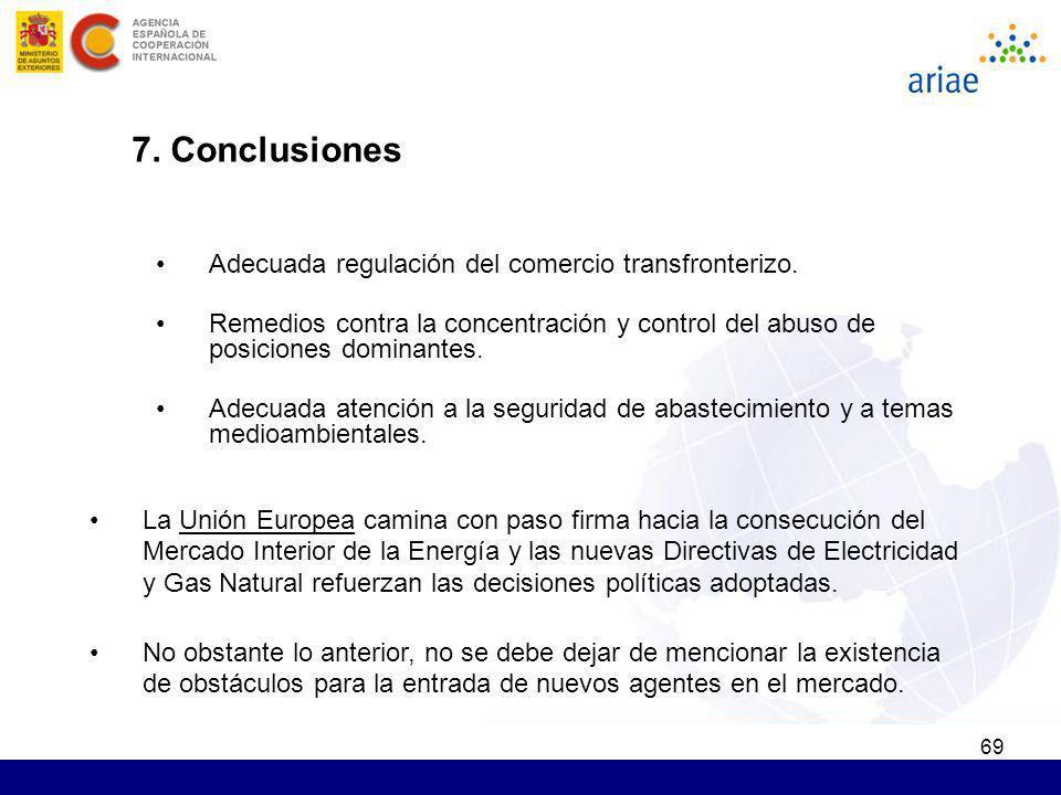 69 7. Conclusiones Adecuada regulación del comercio transfronterizo. Remedios contra la concentración y control del abuso de posiciones dominantes. Ad