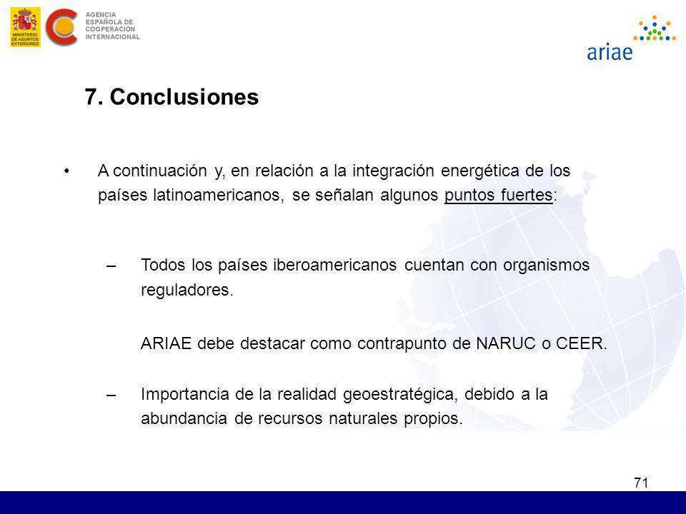 71 7. Conclusiones A continuación y, en relación a la integración energética de los países latinoamericanos, se señalan algunos puntos fuertes: –Todos