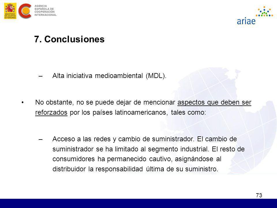 73 7. Conclusiones –Alta iniciativa medioambiental (MDL). No obstante, no se puede dejar de mencionar aspectos que deben ser reforzados por los países