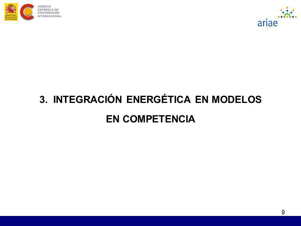 9 3. INTEGRACIÓN ENERGÉTICA EN MODELOS EN COMPETENCIA