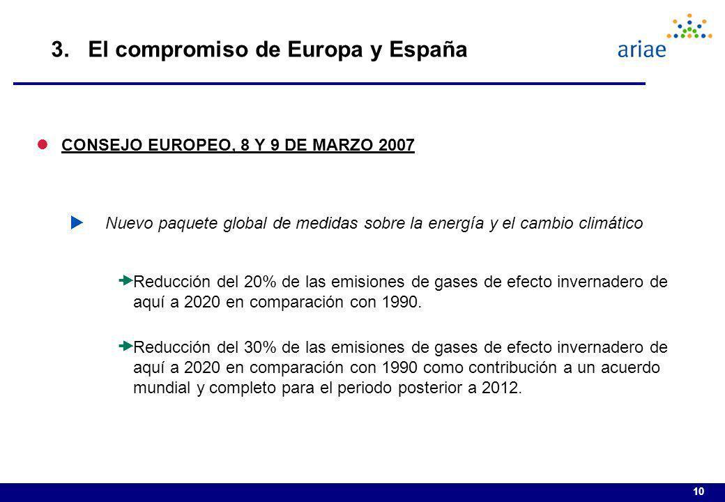 10 3. El compromiso de Europa y España lCONSEJO EUROPEO, 8 Y 9 DE MARZO 2007 Nuevo paquete global de medidas sobre la energía y el cambio climático Re
