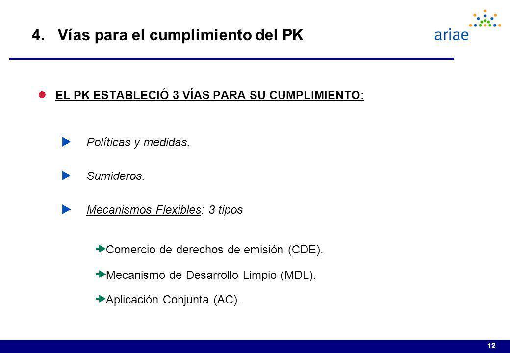 12 4. Vías para el cumplimiento del PK lEL PK ESTABLECIÓ 3 VÍAS PARA SU CUMPLIMIENTO: Políticas y medidas. Sumideros. Mecanismos Flexibles: 3 tipos Co