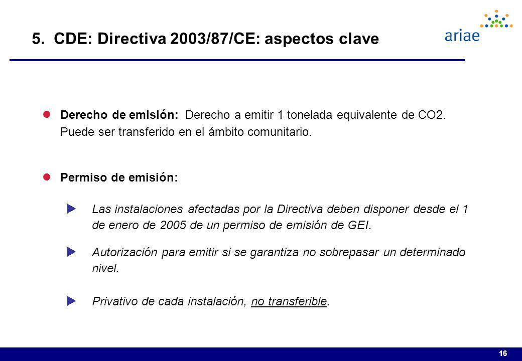 16 lDerecho de emisión: Derecho a emitir 1 tonelada equivalente de CO2. Puede ser transferido en el ámbito comunitario. lPermiso de emisión: Las insta