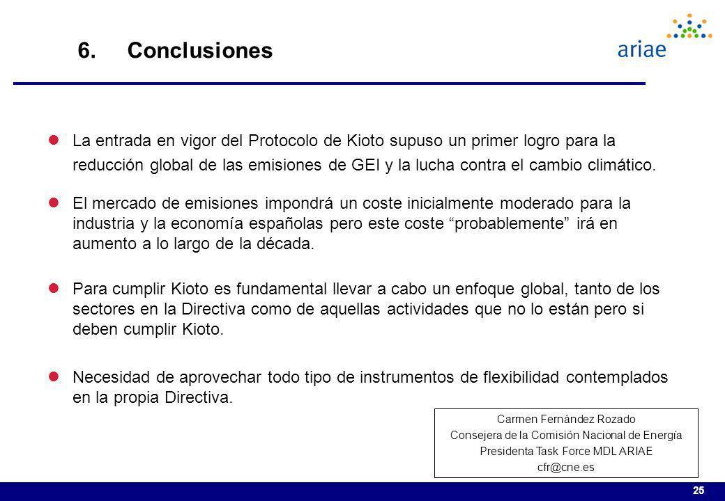 25 6. Conclusiones lLa entrada en vigor del Protocolo de Kioto supuso un primer logro para la reducción global de las emisiones de GEI y la lucha cont