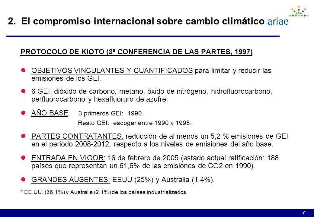 7 PROTOCOLO DE KIOTO (3ª CONFERENCIA DE LAS PARTES, 1997) lOBJETIVOS VINCULANTES Y CUANTIFICADOS para limitar y reducir las emisiones de los GEI. l6 G