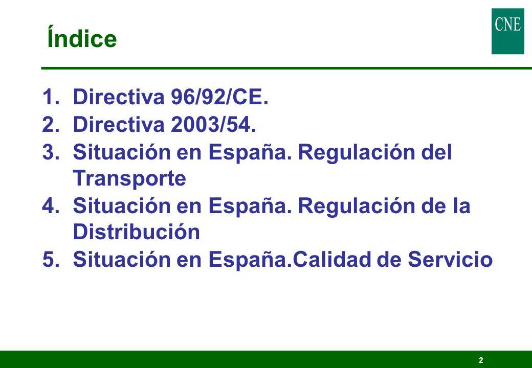 2 Índice 1.Directiva 96/92/CE. 2.Directiva 2003/54. 3.Situación en España. Regulación del Transporte 4.Situación en España. Regulación de la Distribuc
