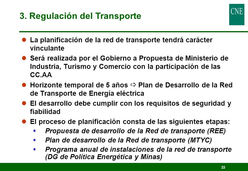 23 lLa planificación de la red de transporte tendrá carácter vinculante lSerá realizada por el Gobierno a Propuesta de Ministerio de Industria, Turism