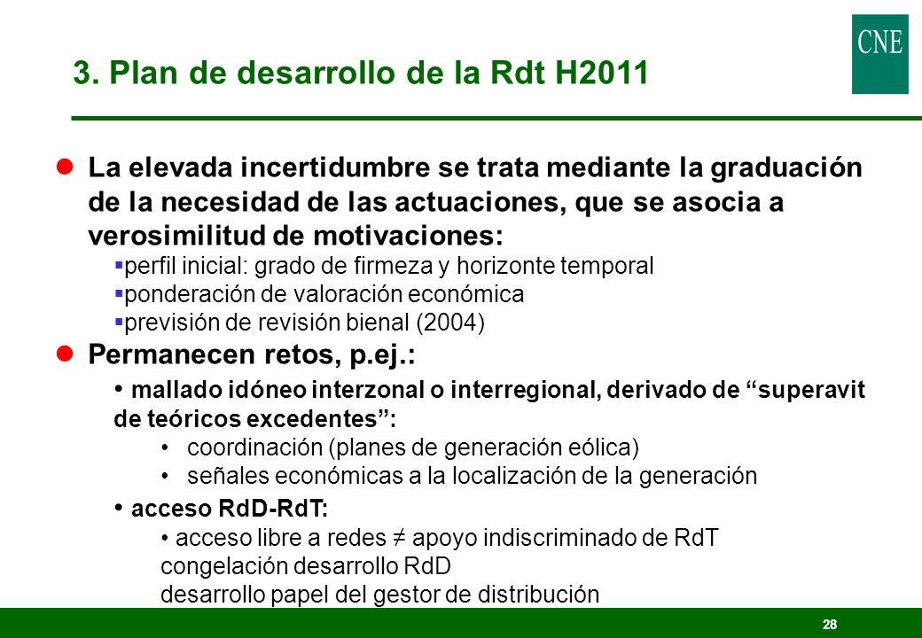 28 3. Plan de desarrollo de la Rdt H2011 lLa elevada incertidumbre se trata mediante la graduación de la necesidad de las actuaciones, que se asocia a