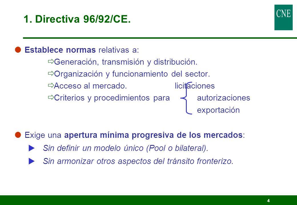 4 Establece normas relativas a: Generación, transmisión y distribución. Organización y funcionamiento del sector. Acceso al mercado. licitaciones Crit