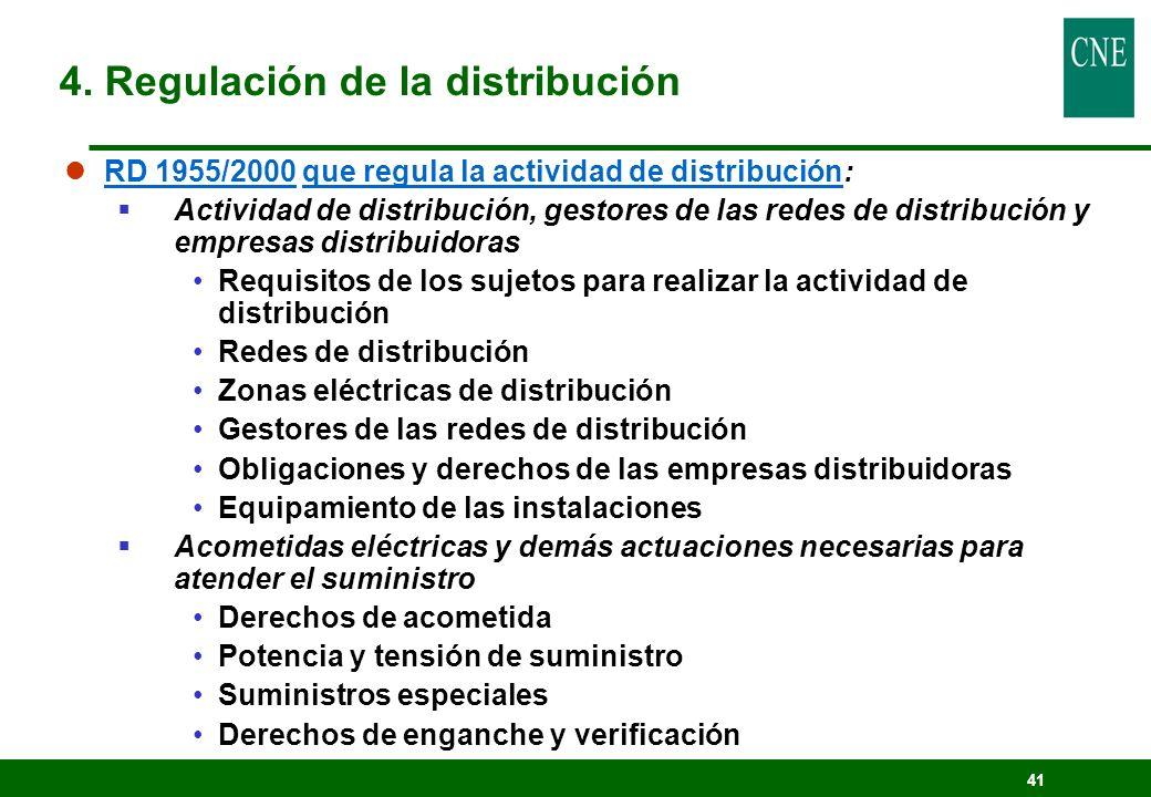 41 lRD 1955/2000 que regula la actividad de distribución: Actividad de distribución, gestores de las redes de distribución y empresas distribuidoras R