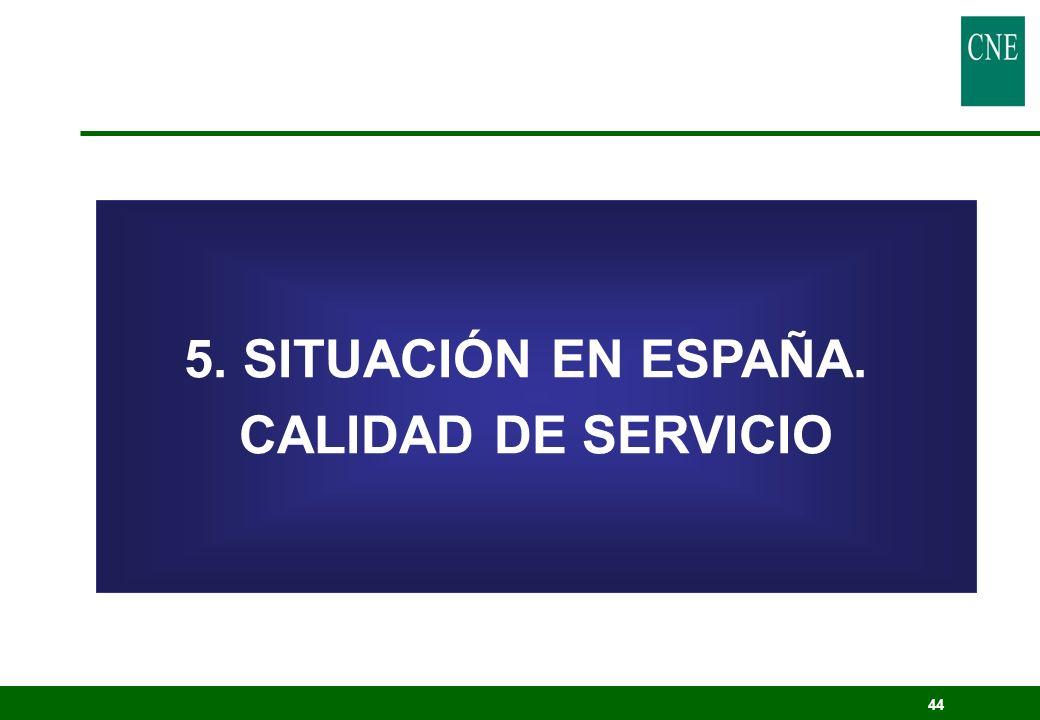 44 5. SITUACIÓN EN ESPAÑA. CALIDAD DE SERVICIO