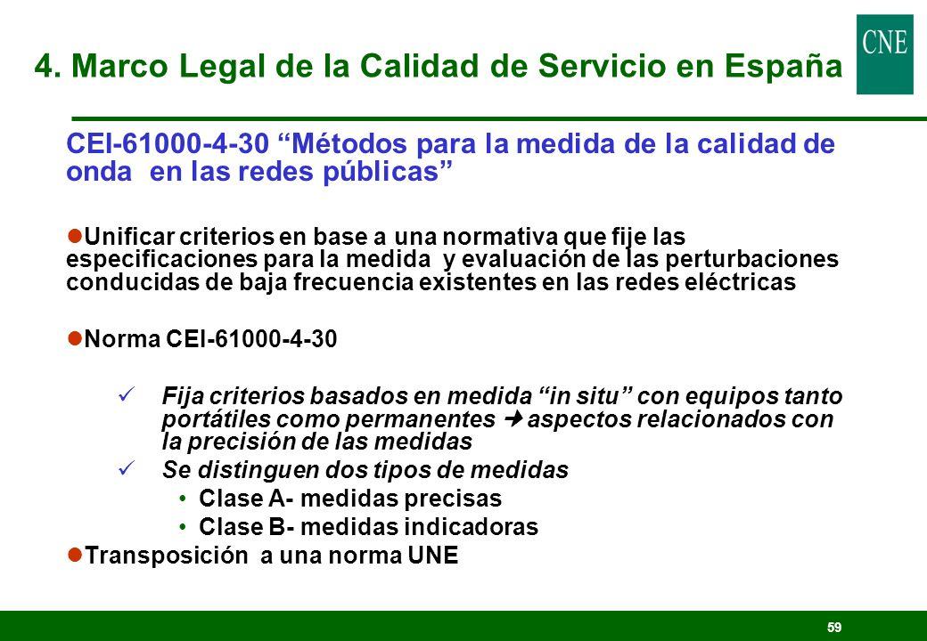 59 CEI-61000-4-30 Métodos para la medida de la calidad de onda en las redes públicas lUnificar criterios en base a una normativa que fije las especifi