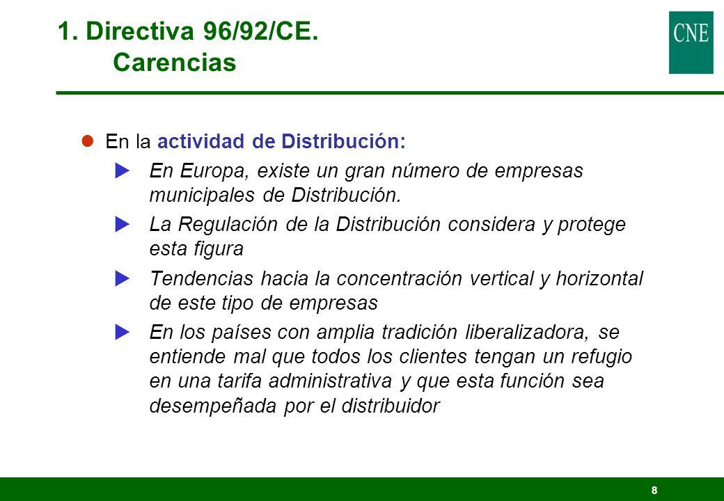 8 1. Directiva 96/92/CE. Carencias lEn la actividad de Distribución: En Europa, existe un gran número de empresas municipales de Distribución. La Regu