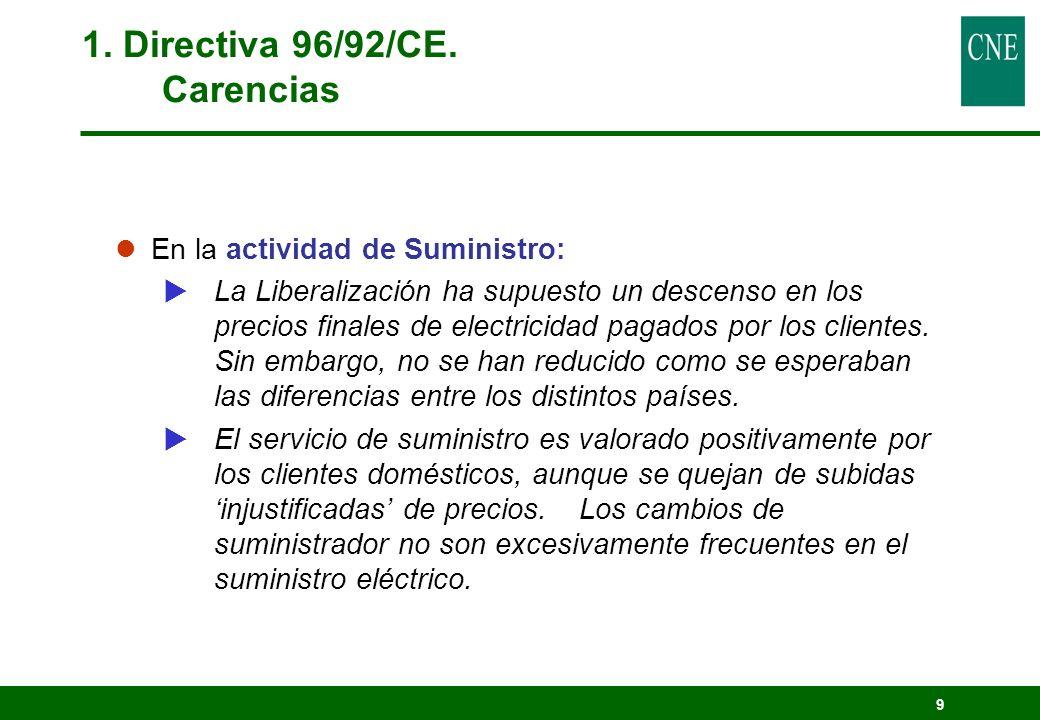 9 1. Directiva 96/92/CE. Carencias lEn la actividad de Suministro: La Liberalización ha supuesto un descenso en los precios finales de electricidad pa