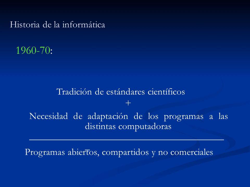 Historia de la informática 1960-70: Tradición de estándares científicos + Necesidad de adaptación de los programas a las distintas computadoras ______