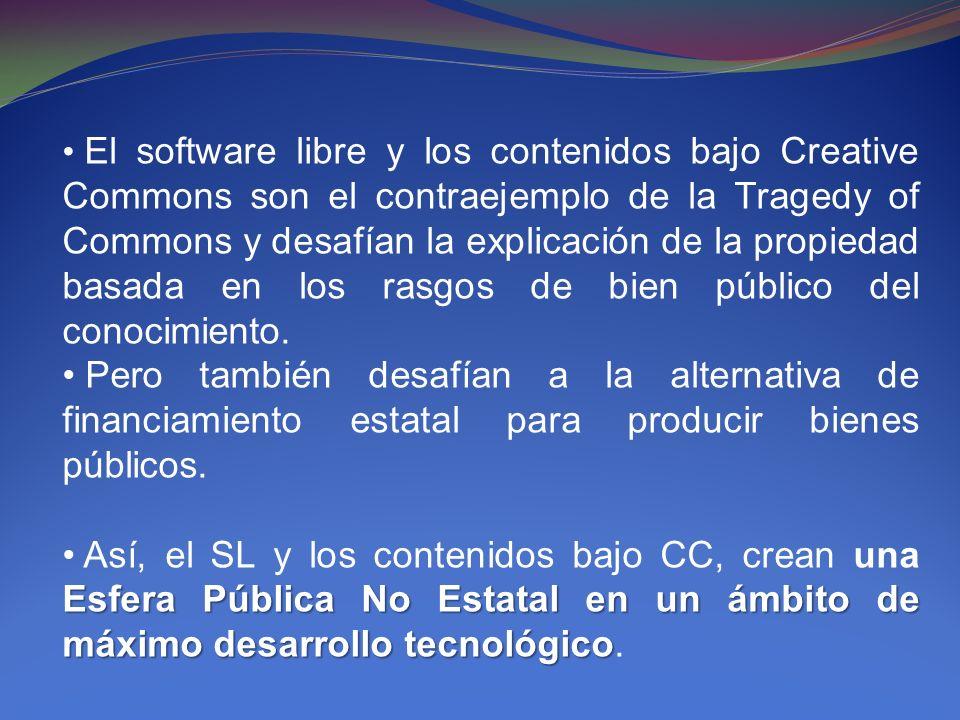 El software libre y los contenidos bajo Creative Commons son el contraejemplo de la Tragedy of Commons y desafían la explicación de la propiedad basad
