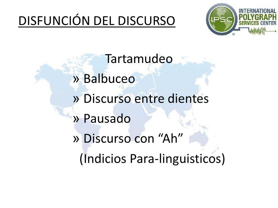 DISFUNCIÓN DEL DISCURSO Tartamudeo » Balbuceo » Discurso entre dientes » Pausado » Discurso con Ah (Indicios Para-linguisticos)