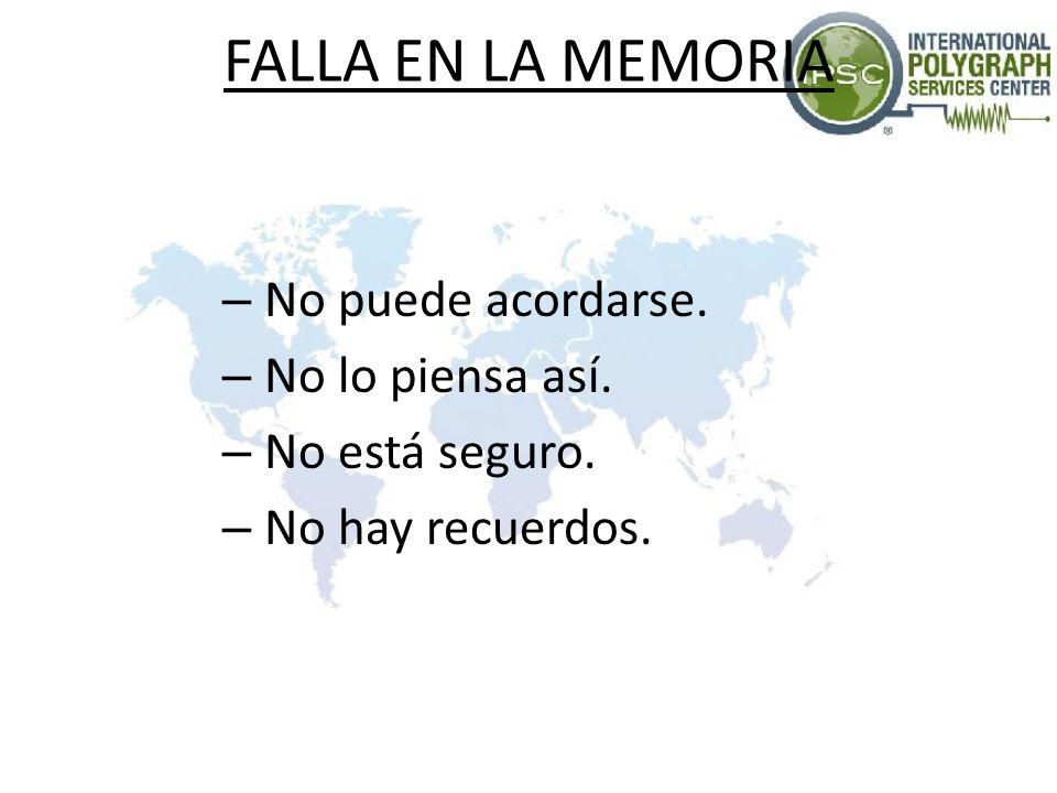 FALLA EN LA MEMORIA – No puede acordarse. – No lo piensa así. – No está seguro. – No hay recuerdos.