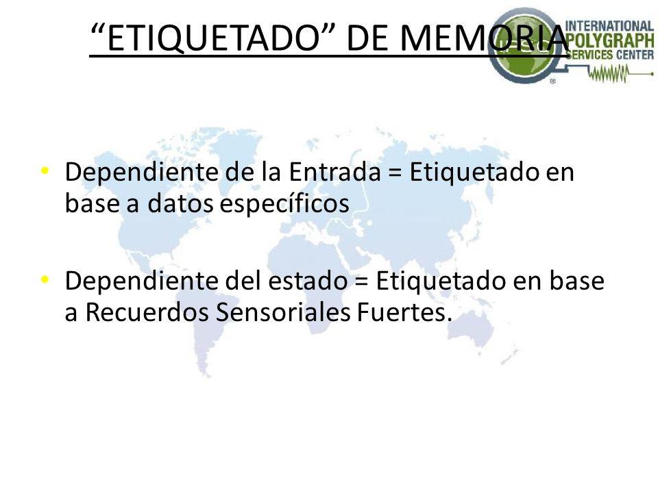 ETIQUETADO DE MEMORIA Dependiente de la Entrada = Etiquetado en base a datos específicos Dependiente del estado = Etiquetado en base a Recuerdos Sensoriales Fuertes.