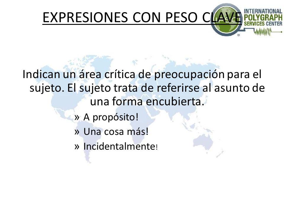 EXPRESIONES CON PESO CLAVE Indican un área crítica de preocupación para el sujeto. El sujeto trata de referirse al asunto de una forma encubierta. » A