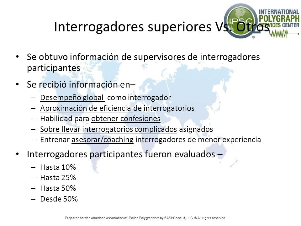 Interrogadores superiores Vs. Otros Se obtuvo información de supervisores de interrogadores participantes Se recibió información en– – Desempeño globa