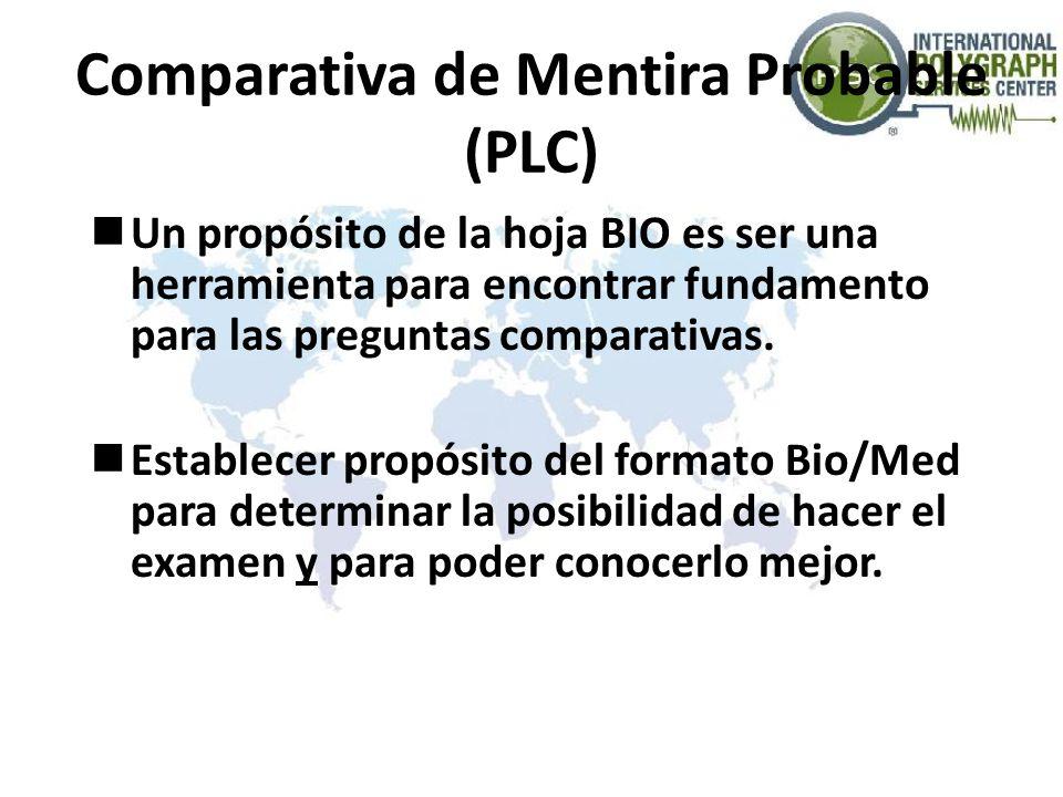Comparativa de Mentira Probable (PLC) Un propósito de la hoja BIO es ser una herramienta para encontrar fundamento para las preguntas comparativas. Es