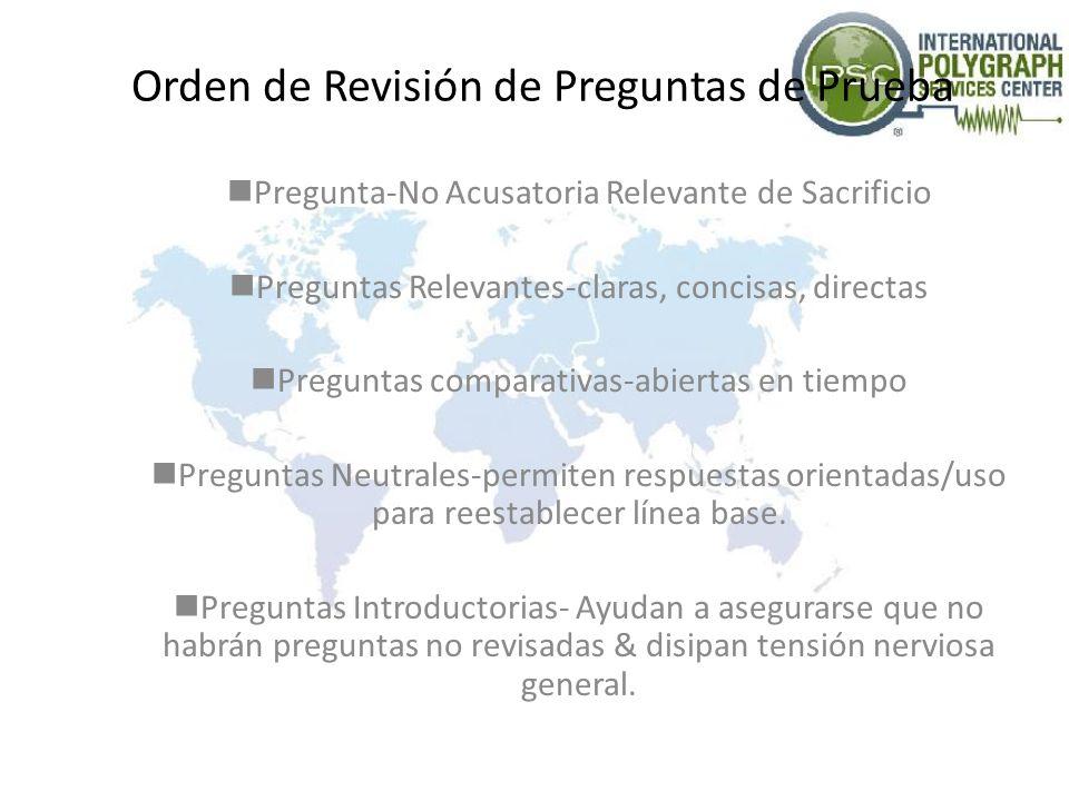 Orden de Revisión de Preguntas de Prueba Pregunta-No Acusatoria Relevante de Sacrificio Preguntas Relevantes-claras, concisas, directas Preguntas comp