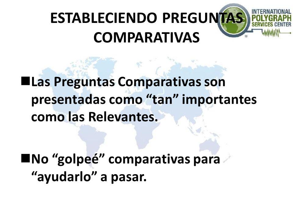 ESTABLECIENDO PREGUNTAS COMPARATIVAS Las Preguntas Comparativas son presentadas como tan importantes como las Relevantes. No golpeé comparativas para