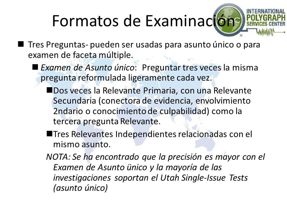 Formatos de Examinación Tres Preguntas- pueden ser usadas para asunto único o para examen de faceta múltiple. Examen de Asunto único: Preguntar tres v