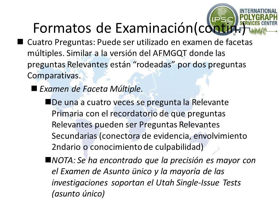 Formatos de Examinación(contin.) Cuatro Preguntas: Puede ser utilizado en examen de facetas múltiples. Similar a la versión del AFMGQT donde las pregu