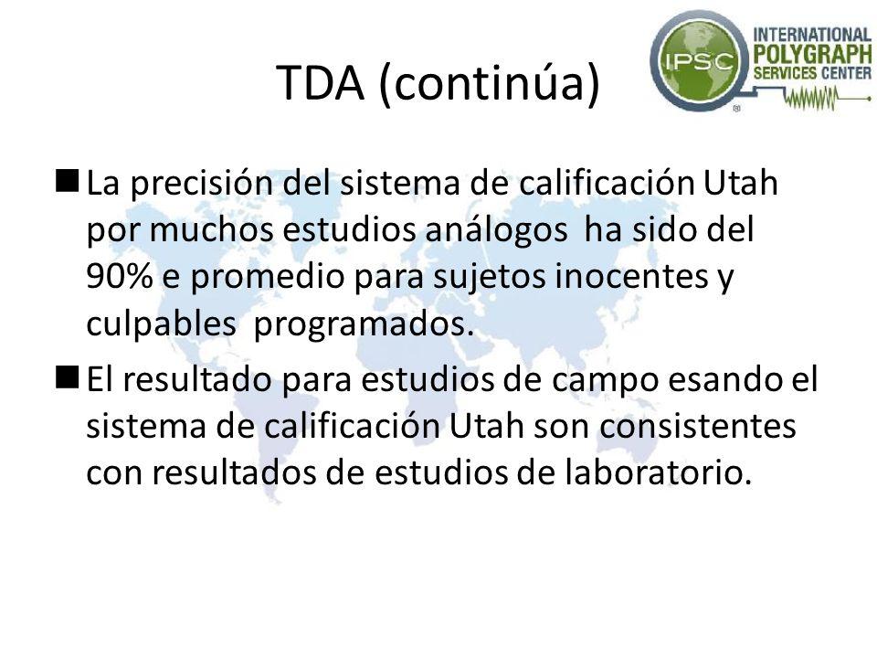 TDA (continúa) La precisión del sistema de calificación Utah por muchos estudios análogos ha sido del 90% e promedio para sujetos inocentes y culpable