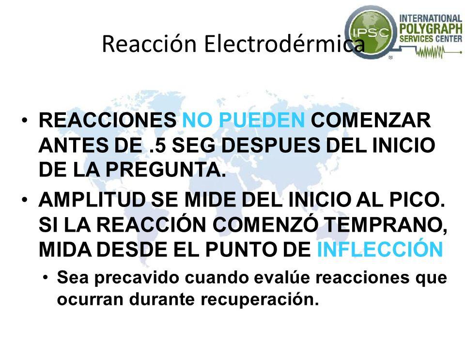Reacción Electrodérmica REACCIONES NO PUEDEN COMENZAR ANTES DE.5 SEG DESPUES DEL INICIO DE LA PREGUNTA. AMPLITUD SE MIDE DEL INICIO AL PICO. SI LA REA