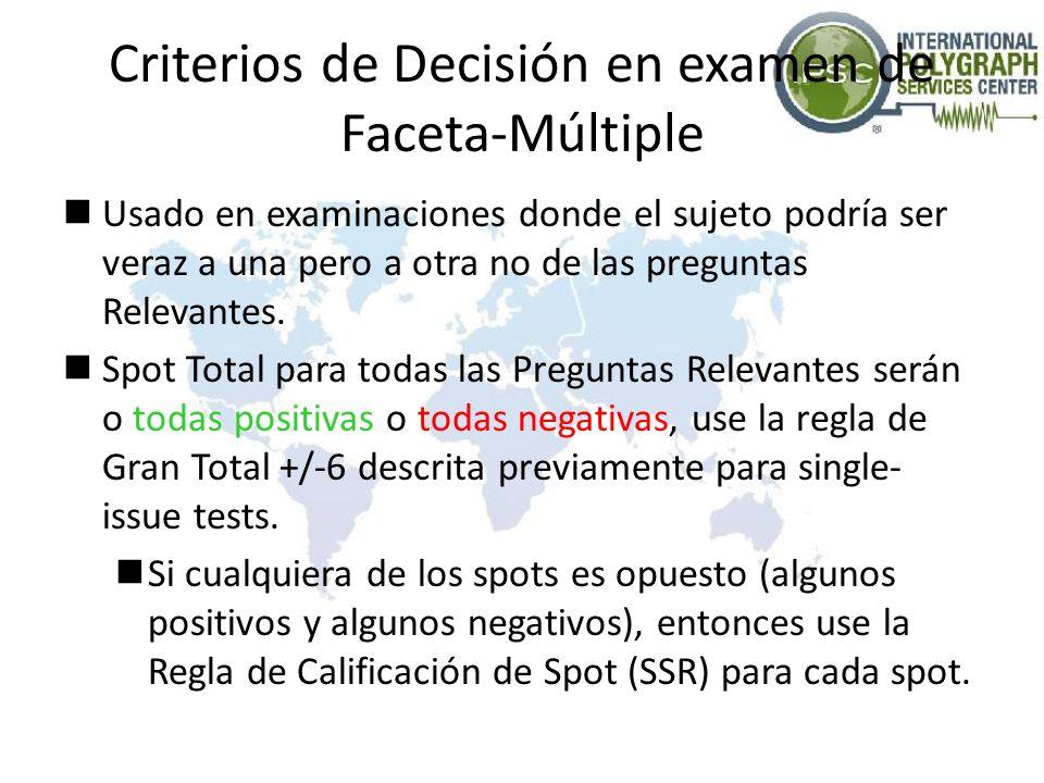 Criterios de Decisión en examen de Faceta-Múltiple Usado en examinaciones donde el sujeto podría ser veraz a una pero a otra no de las preguntas Relev