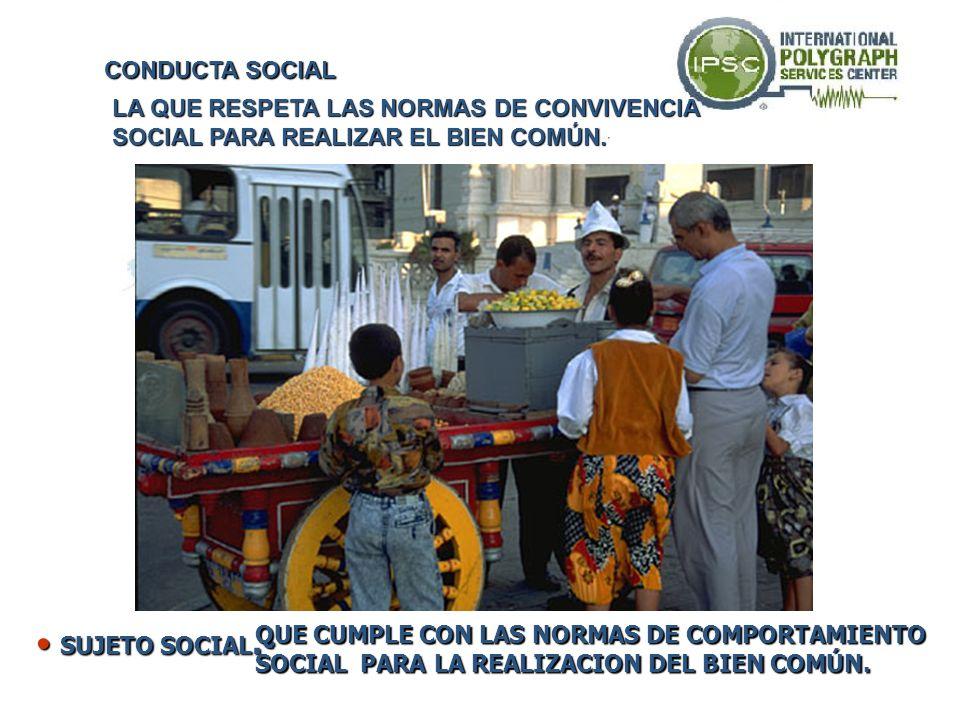 SOCIAL.- SOCIAL.- QUE CUMPLE CON LAS NORMAS DE COMPORTAMIENTO SOCIAL PARA LA REALIZACION DEL BIEN COMÚN. CON SUS PROPIOS VALORES Y COSTUMBRES CONVIVE