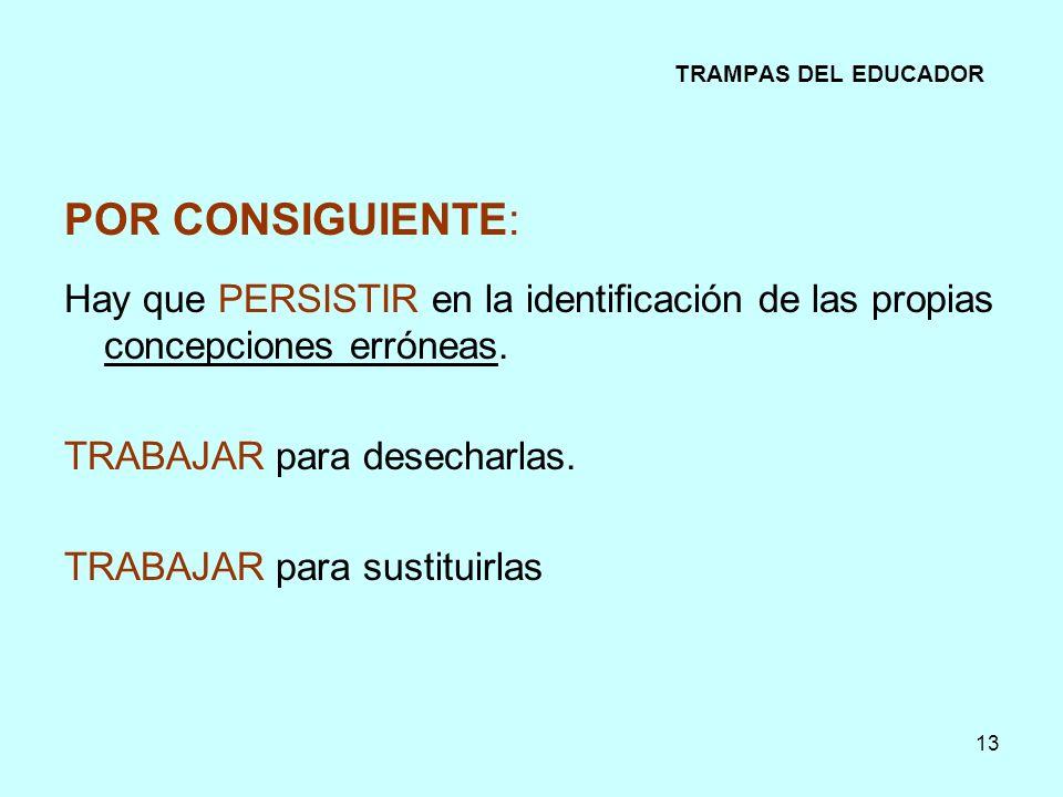 13 TRAMPAS DEL EDUCADOR POR CONSIGUIENTE: Hay que PERSISTIR en la identificación de las propias concepciones erróneas. TRABAJAR para desecharlas. TRAB