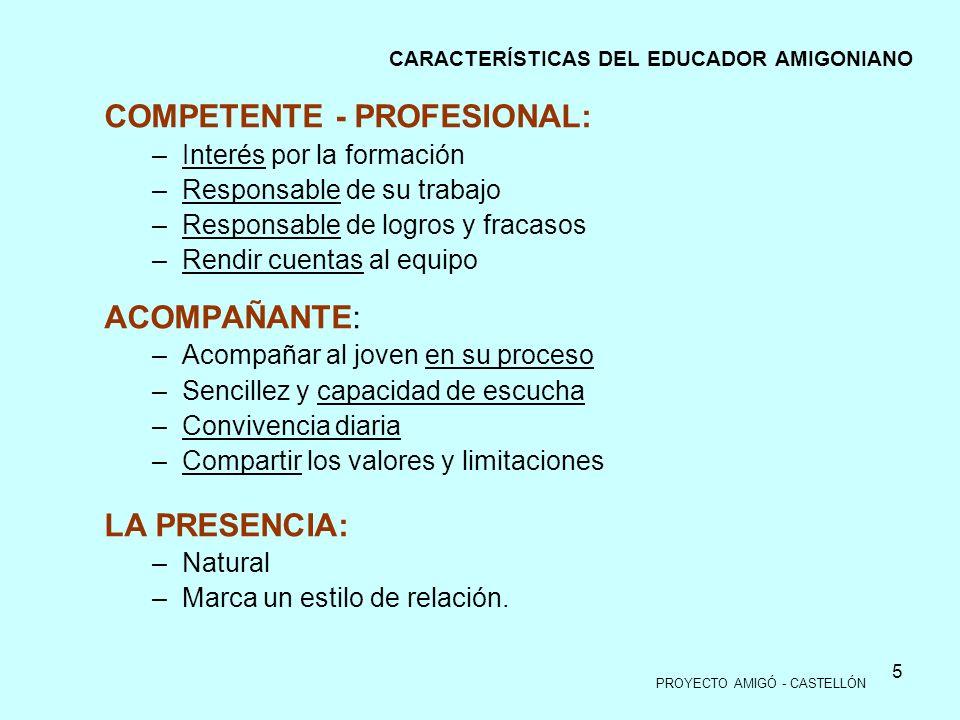 5 COMPETENTE - PROFESIONAL: –Interés por la formación –Responsable de su trabajo –Responsable de logros y fracasos –Rendir cuentas al equipo ACOMPAÑAN