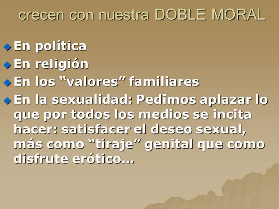 crecen con nuestra DOBLE MORAL crecen con nuestra DOBLE MORAL En política En política En religión En religión En los valores familiares En los valores