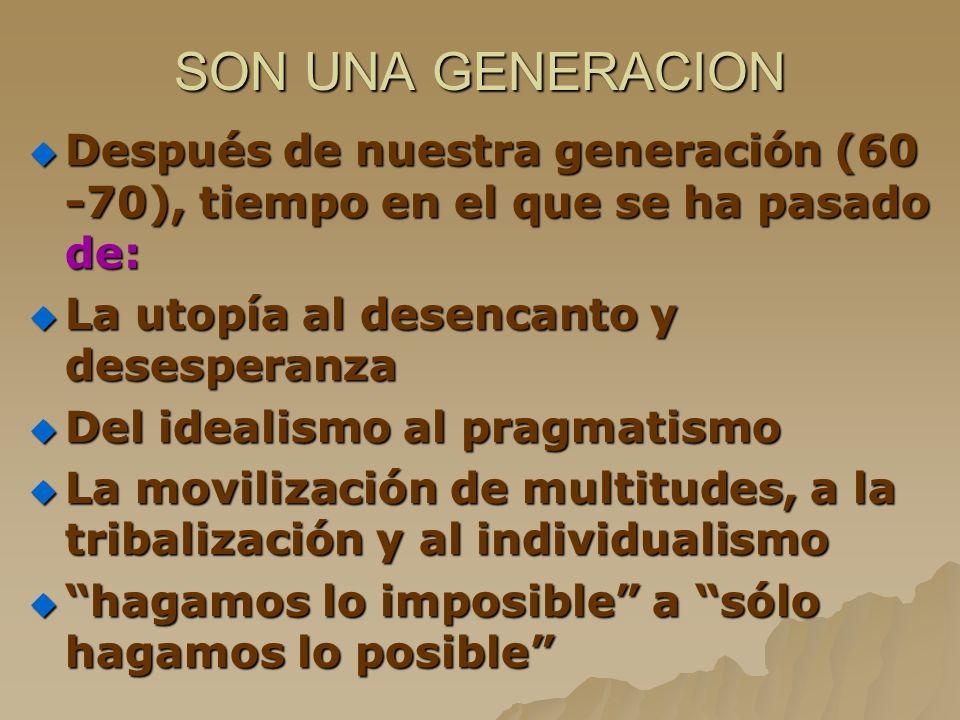 SON UNA GENERACION Después de nuestra generación (60 -70), tiempo en el que se ha pasado de: Después de nuestra generación (60 -70), tiempo en el que