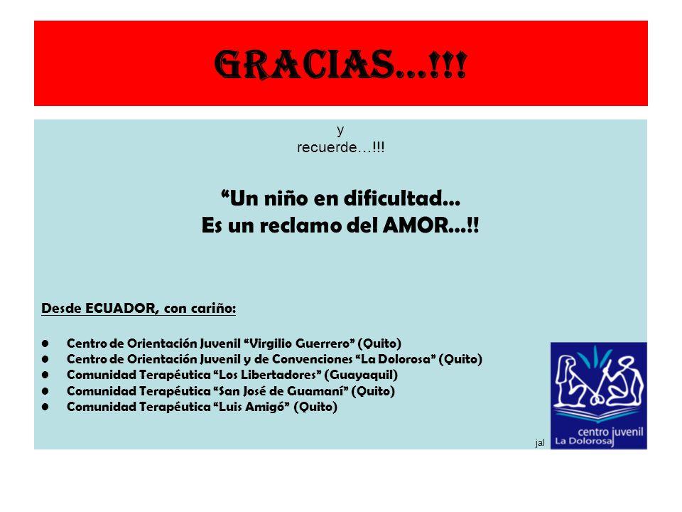 Gracias…!!! y recuerde…!!! Un niño en dificultad… Es un reclamo del AMOR…!! Desde ECUADOR, con cariño: Centro de Orientación Juvenil Virgilio Guerrero